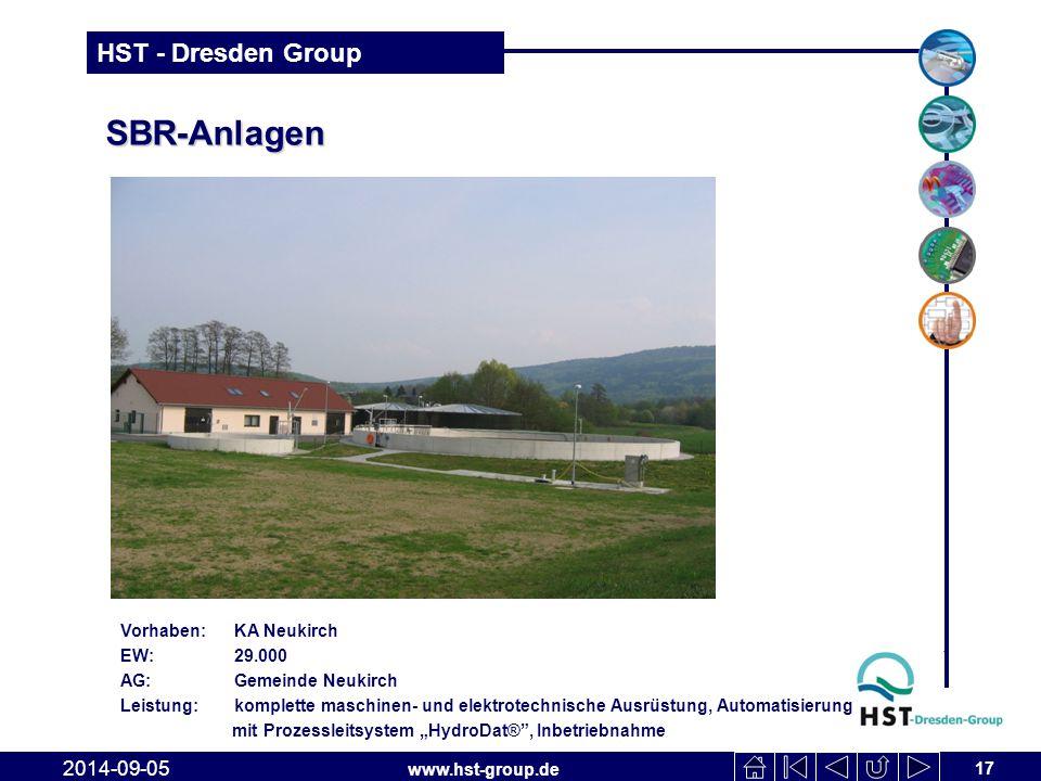 www.hst-group.de HST - Dresden Group SBR-Anlagen 17 2014-09-05 Vorhaben: KA Neukirch EW: 29.000 AG: Gemeinde Neukirch Leistung: komplette maschinen- u