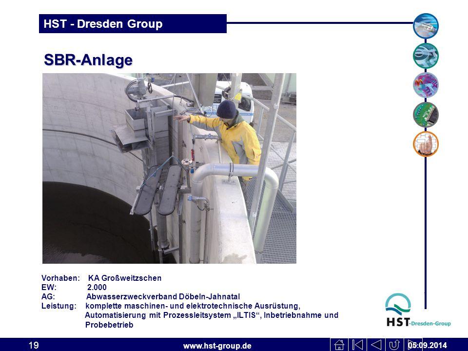 www.hst-group.de HST - Dresden Group SBR-Anlage 05.09.2014 19 Vorhaben: KA Großweitzschen EW: 2.000 AG: Abwasserzweckverband Döbeln-Jahnatal Leistung: