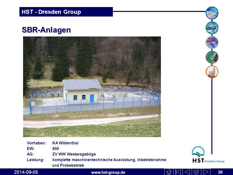 www.hst-group.de HST - Dresden Group SBR-Anlagen 20 2014-09-05 Vorhaben: KA Wildenthal EW: 600 AG: ZV WW Westerzgebirge Leistung: komplette maschinent