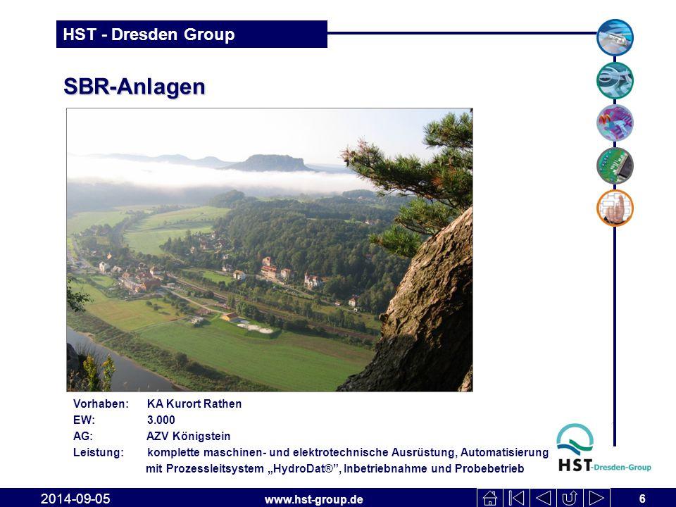 www.hst-group.de HST - Dresden Group SBR-Anlagen 6 2014-09-05 Vorhaben: KA Kurort Rathen EW: 3.000 AG: AZV Königstein Leistung: komplette maschinen- u