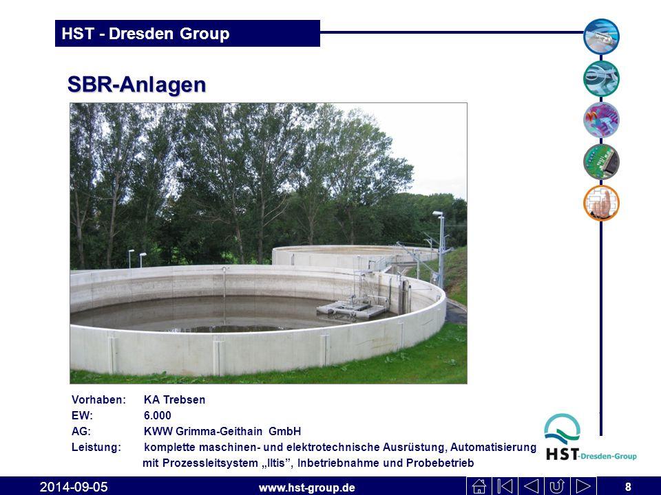 www.hst-group.de HST - Dresden Group SBR-Anlagen 8 2014-09-05 Vorhaben: KA Trebsen EW: 6.000 AG: KWW Grimma-Geithain GmbH Leistung: komplette maschine