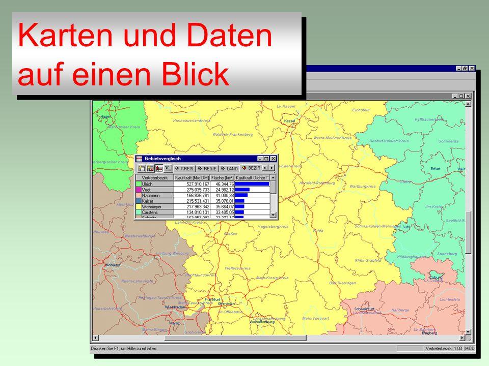 Karten und Daten auf einen Blick