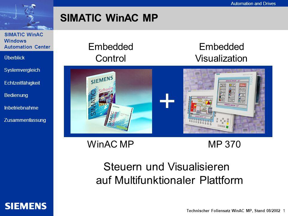 Automation and Drives SIMATIC WinAC Windows Automation Center Technischer Foliensatz WinAC MP, Stand 08/2002 2 Überblick Echtzeitfähigkeit Bedienung Inbetriebnahme Zusammenfassung Systemvergleich SIMATIC WinAC MP Echtzeitfähig basiert auf Windows CE 3.0 schnelle Befehlslaufzeiten boolsche Operationen: ~ 0,4 µs mathematische Operationen: ~ 0,3 µs Robuste Hardwareplattform festplattenlos lüfterlos keine Schnittstellen in der Front kein Eingriff durch nicht autorisiertes Personal möglich Ablaufplattform Multifunktionale Plattform MP 370, 12