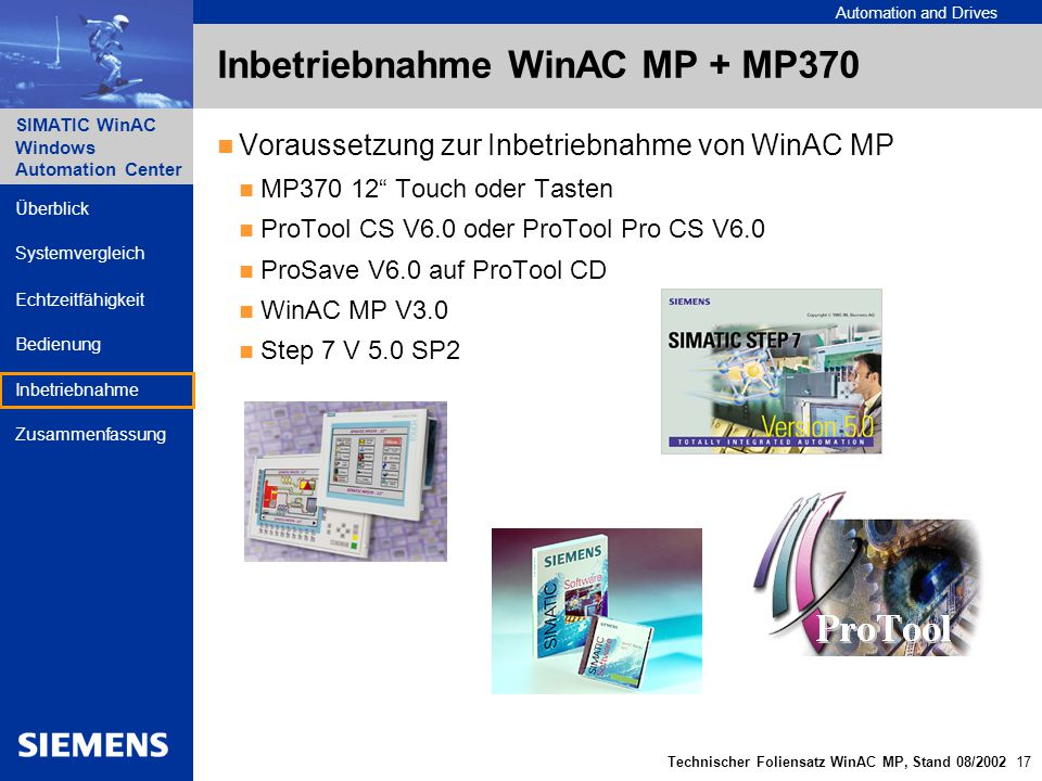 Automation and Drives SIMATIC WinAC Windows Automation Center Technischer Foliensatz WinAC MP, Stand 08/2002 17 Überblick Echtzeitfähigkeit Bedienung