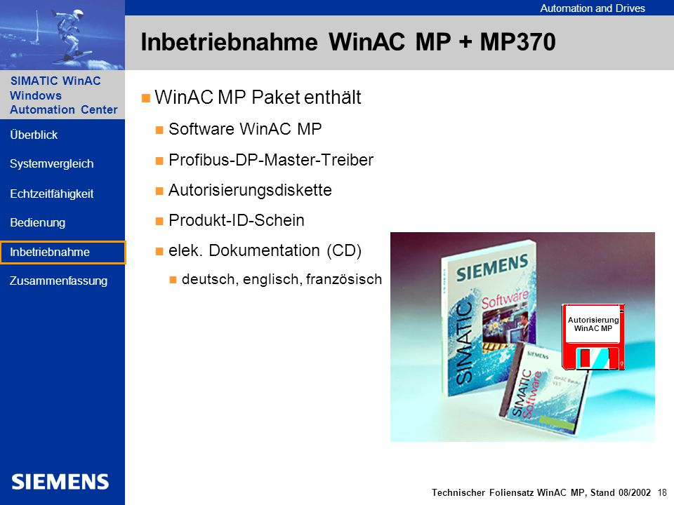 Automation and Drives SIMATIC WinAC Windows Automation Center Technischer Foliensatz WinAC MP, Stand 08/2002 18 Überblick Echtzeitfähigkeit Bedienung