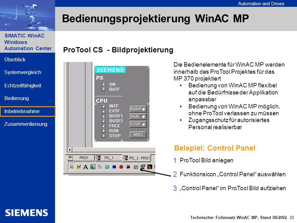 Automation and Drives SIMATIC WinAC Windows Automation Center Technischer Foliensatz WinAC MP, Stand 08/2002 20 Überblick Echtzeitfähigkeit Bedienung