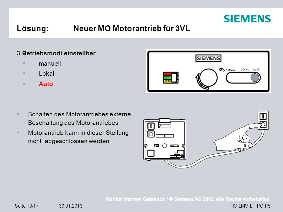 Nur für internen Gebrauch / © Siemens AG 2012. Alle Rechte vorbehalten. IC LMV LP PO P5Seite 10/1730.01.2013 Lösung:Neuer MO Motorantrieb für 3VL 3 Be