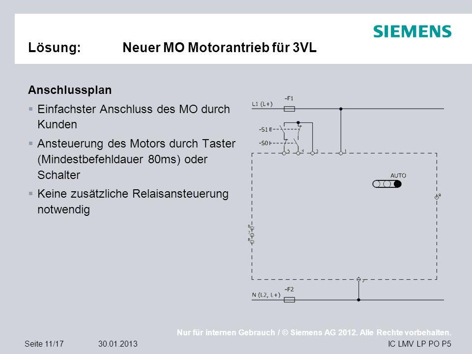 Nur für internen Gebrauch / © Siemens AG 2012. Alle Rechte vorbehalten. IC LMV LP PO P5Seite 11/1730.01.2013 Lösung:Neuer MO Motorantrieb für 3VL Ansc
