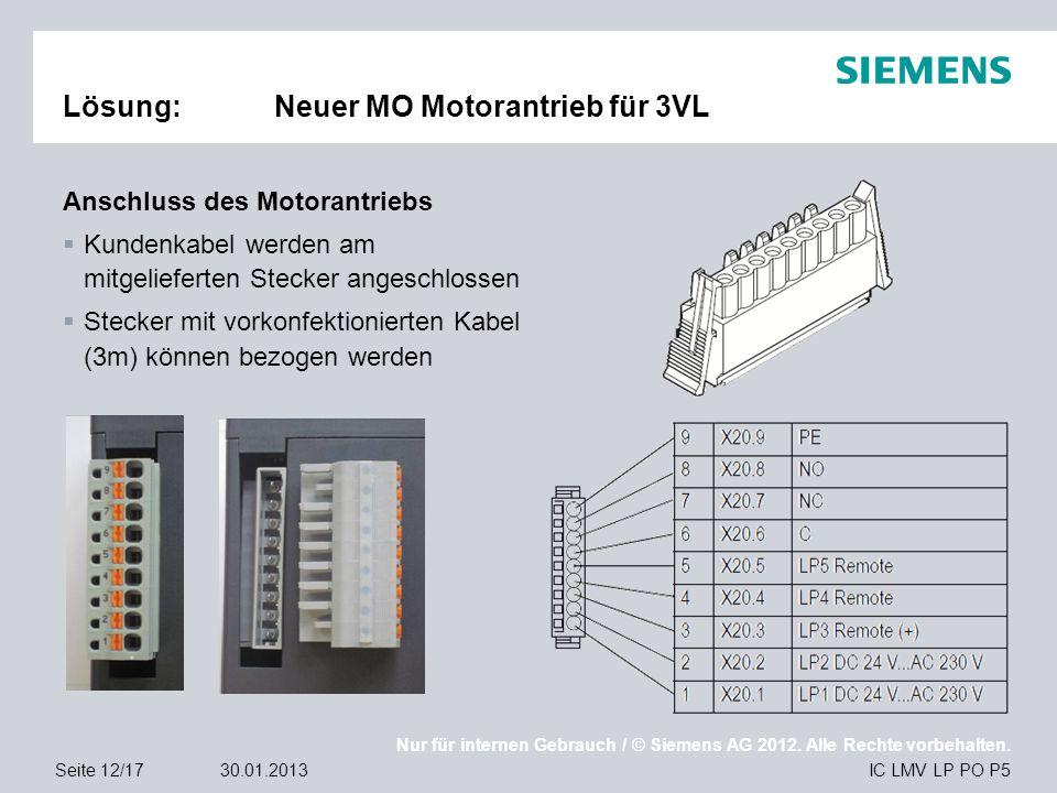 Nur für internen Gebrauch / © Siemens AG 2012. Alle Rechte vorbehalten. IC LMV LP PO P5Seite 12/1730.01.2013 Lösung:Neuer MO Motorantrieb für 3VL Ansc