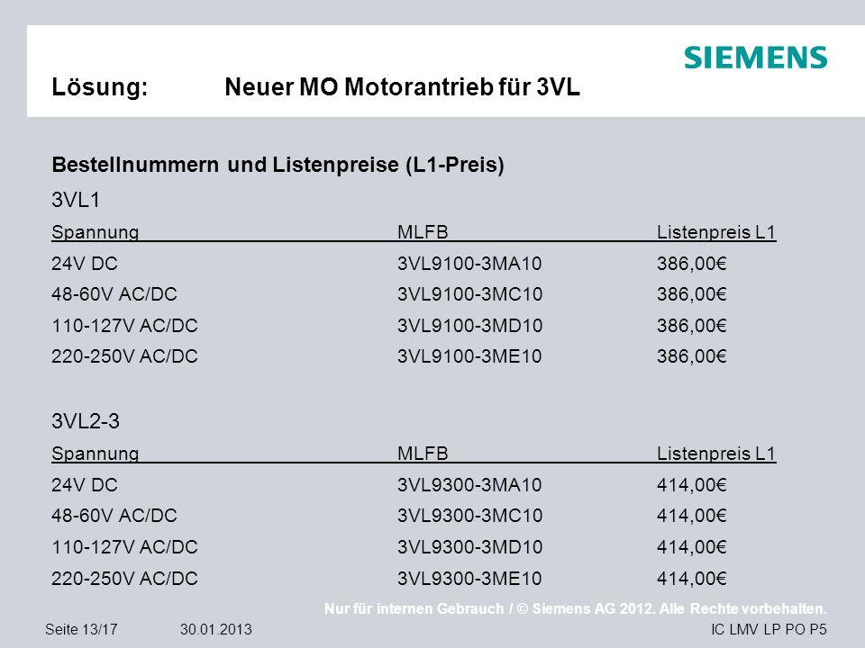 Nur für internen Gebrauch / © Siemens AG 2012. Alle Rechte vorbehalten. IC LMV LP PO P5Seite 13/1730.01.2013 Lösung:Neuer MO Motorantrieb für 3VL Best