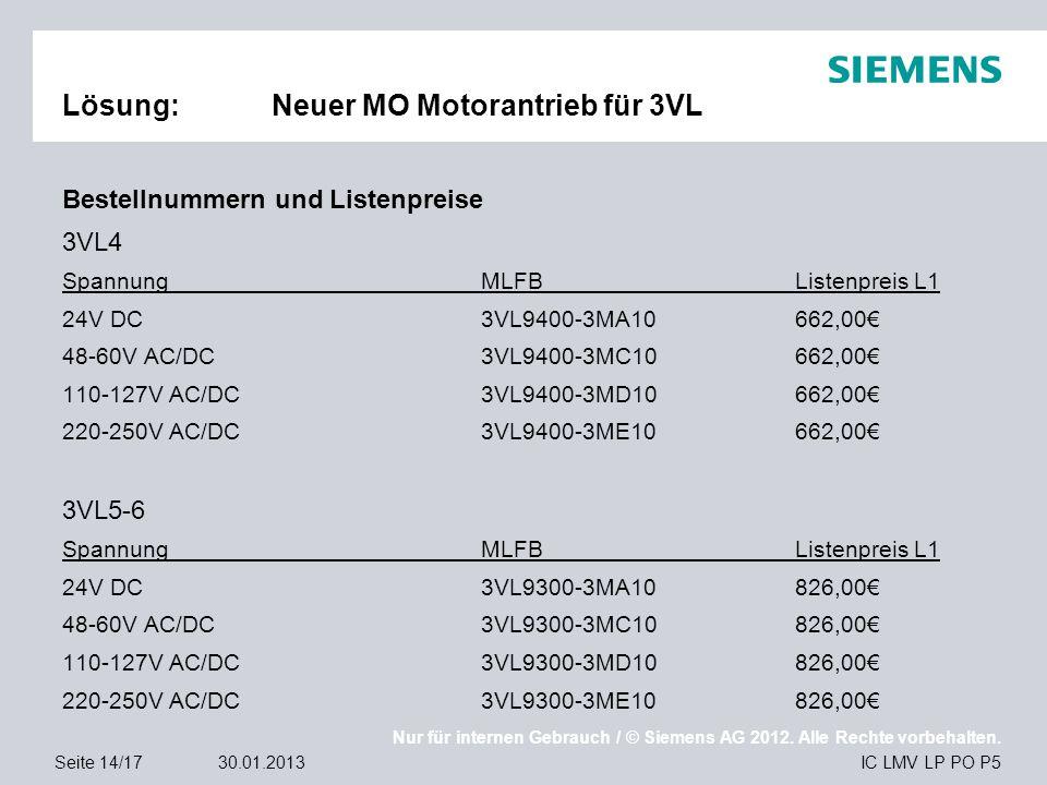 Nur für internen Gebrauch / © Siemens AG 2012. Alle Rechte vorbehalten. IC LMV LP PO P5Seite 14/1730.01.2013 Lösung:Neuer MO Motorantrieb für 3VL Best