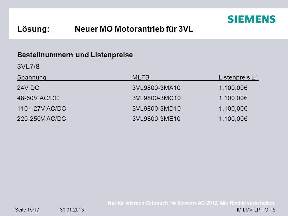 Nur für internen Gebrauch / © Siemens AG 2012. Alle Rechte vorbehalten. IC LMV LP PO P5Seite 15/1730.01.2013 Lösung:Neuer MO Motorantrieb für 3VL Best