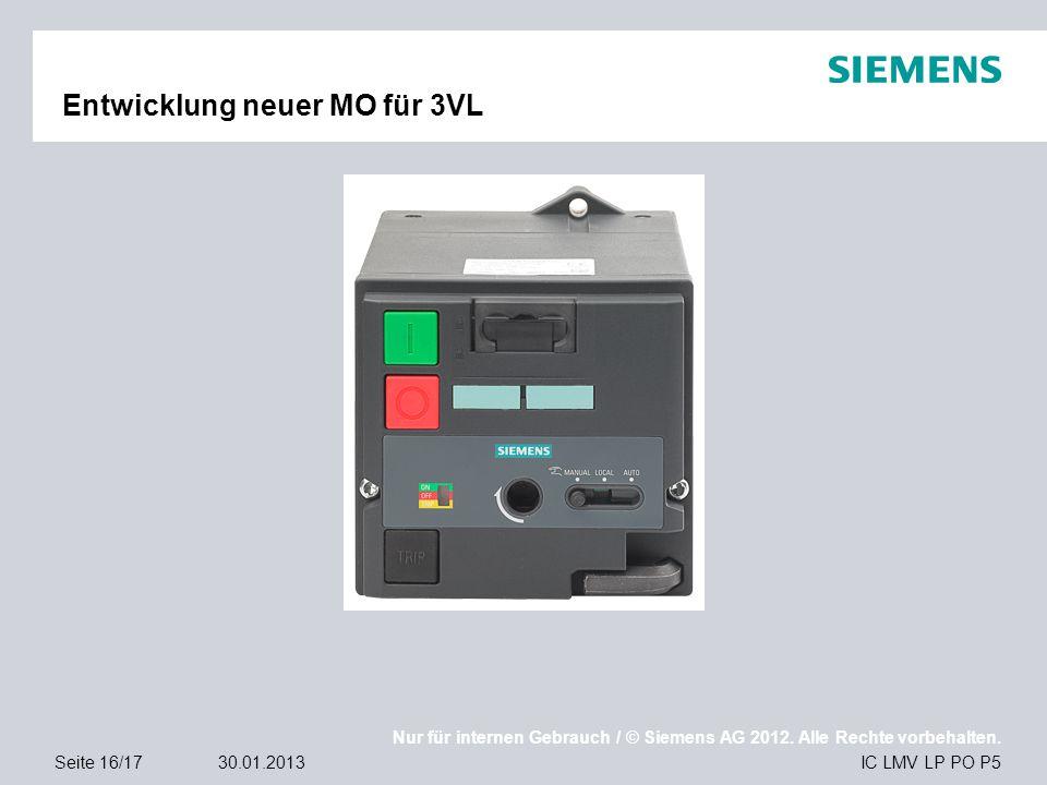 Nur für internen Gebrauch / © Siemens AG 2012. Alle Rechte vorbehalten. IC LMV LP PO P5Seite 16/1730.01.2013 Entwicklung neuer MO für 3VL