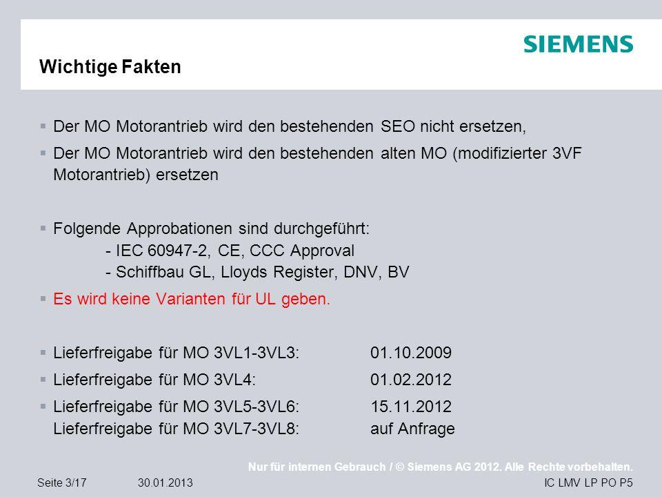 Nur für internen Gebrauch / © Siemens AG 2012. Alle Rechte vorbehalten. IC LMV LP PO P5Seite 3/1730.01.2013 Wichtige Fakten  Der MO Motorantrieb wird