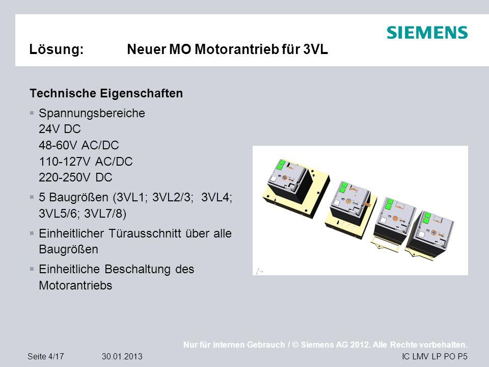 Nur für internen Gebrauch / © Siemens AG 2012. Alle Rechte vorbehalten. IC LMV LP PO P5Seite 4/1730.01.2013 Lösung:Neuer MO Motorantrieb für 3VL Techn