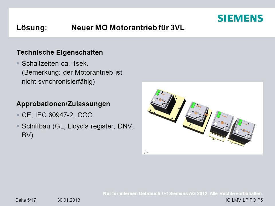 Nur für internen Gebrauch / © Siemens AG 2012. Alle Rechte vorbehalten. IC LMV LP PO P5Seite 5/1730.01.2013 Lösung:Neuer MO Motorantrieb für 3VL Techn