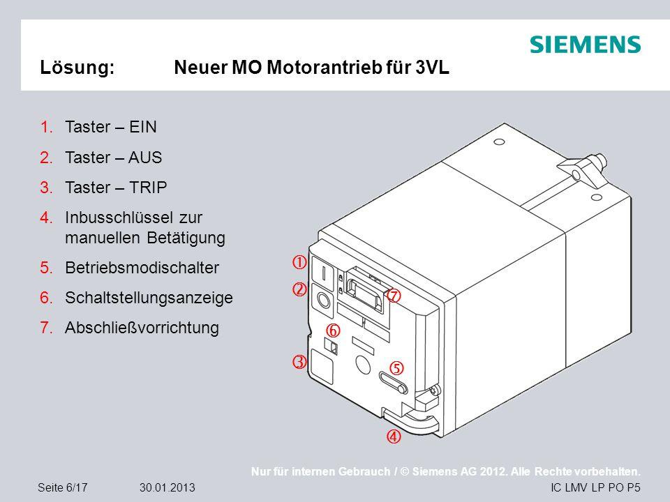 Nur für internen Gebrauch / © Siemens AG 2012. Alle Rechte vorbehalten. IC LMV LP PO P5Seite 6/1730.01.2013 Lösung:Neuer MO Motorantrieb für 3VL   