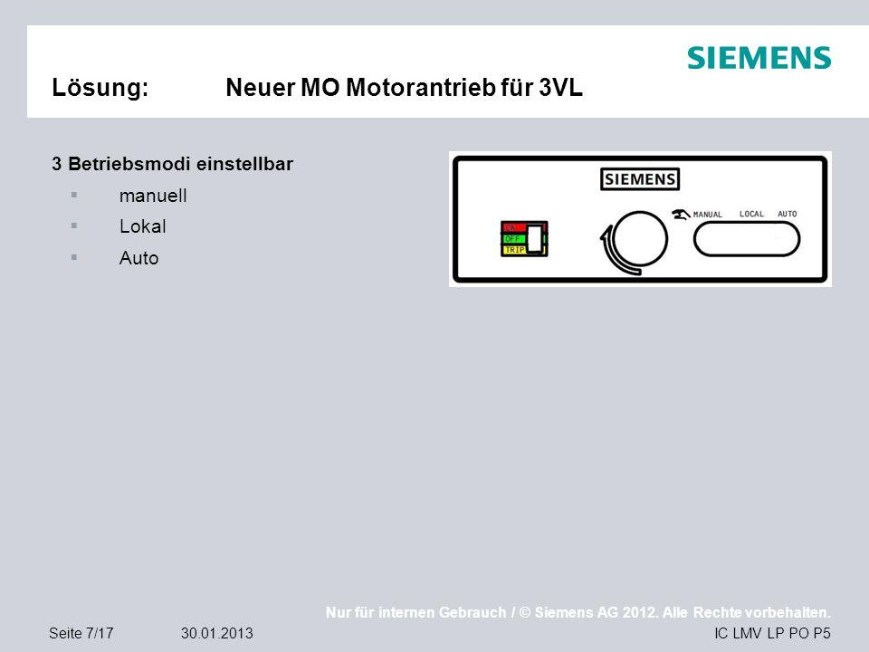 Nur für internen Gebrauch / © Siemens AG 2012. Alle Rechte vorbehalten. IC LMV LP PO P5Seite 7/1730.01.2013 Lösung:Neuer MO Motorantrieb für 3VL 3 Bet