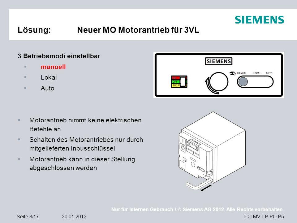 Nur für internen Gebrauch / © Siemens AG 2012. Alle Rechte vorbehalten. IC LMV LP PO P5Seite 8/1730.01.2013 Lösung:Neuer MO Motorantrieb für 3VL 3 Bet