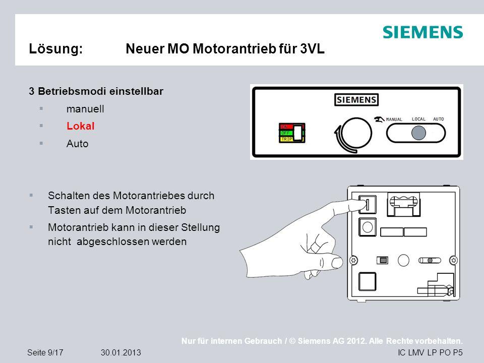 Nur für internen Gebrauch / © Siemens AG 2012. Alle Rechte vorbehalten. IC LMV LP PO P5Seite 9/1730.01.2013 Lösung:Neuer MO Motorantrieb für 3VL 3 Bet
