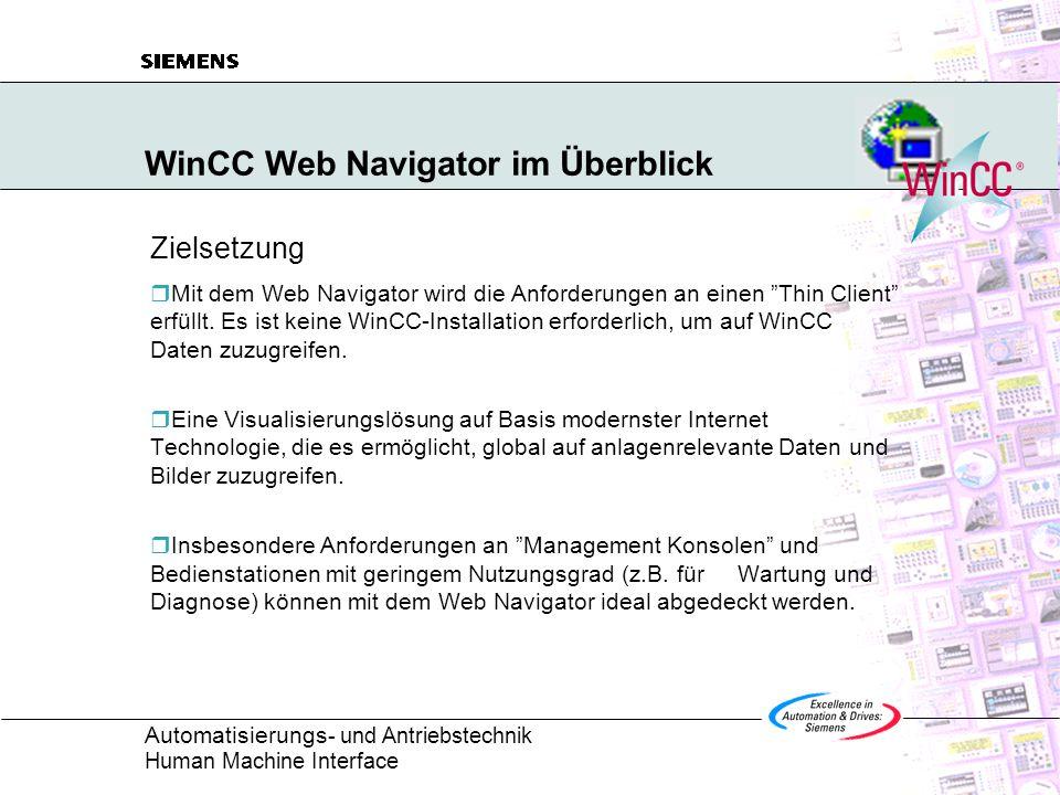 Automatisierungs - und Antriebstechnik Human Machine Interface WinCC Web Navigator im Überblick Zielsetzung  Mit dem Web Navigator wird die Anforderungen an einen Thin Client erfüllt.