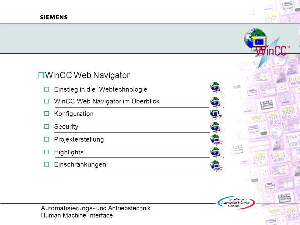 Automatisierungs - und Antriebstechnik Human Machine Interface  WinCC Web Navigator  Einstieg in die Webtechnologie  WinCC Web Navigator im Überblick  Konfiguration  Security  Projekterstellung  Highlights  Einschränkungen