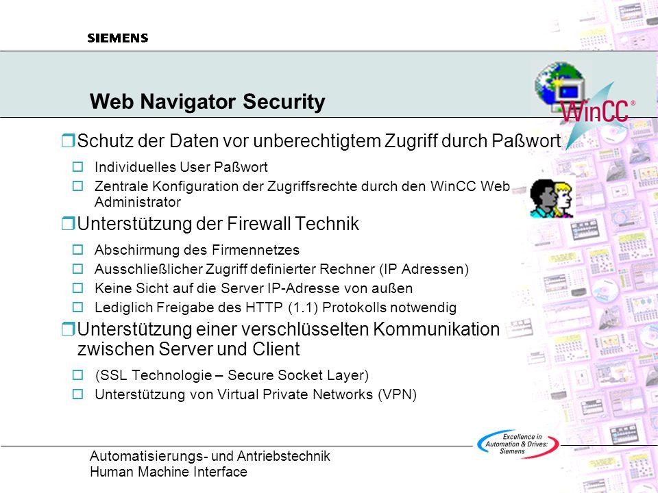Automatisierungs - und Antriebstechnik Human Machine Interface Web Navigator Security  Schutz der Daten vor unberechtigtem Zugriff durch Paßwort  Individuelles User Paßwort  Zentrale Konfiguration der Zugriffsrechte durch den WinCC Web Administrator  Unterstützung der Firewall Technik  Abschirmung des Firmennetzes  Ausschließlicher Zugriff definierter Rechner (IP Adressen)  Keine Sicht auf die Server IP-Adresse von außen  Lediglich Freigabe des HTTP (1.1) Protokolls notwendig  Unterstützung einer verschlüsselten Kommunikation zwischen Server und Client  (SSL Technologie – Secure Socket Layer)  Unterstützung von Virtual Private Networks (VPN)