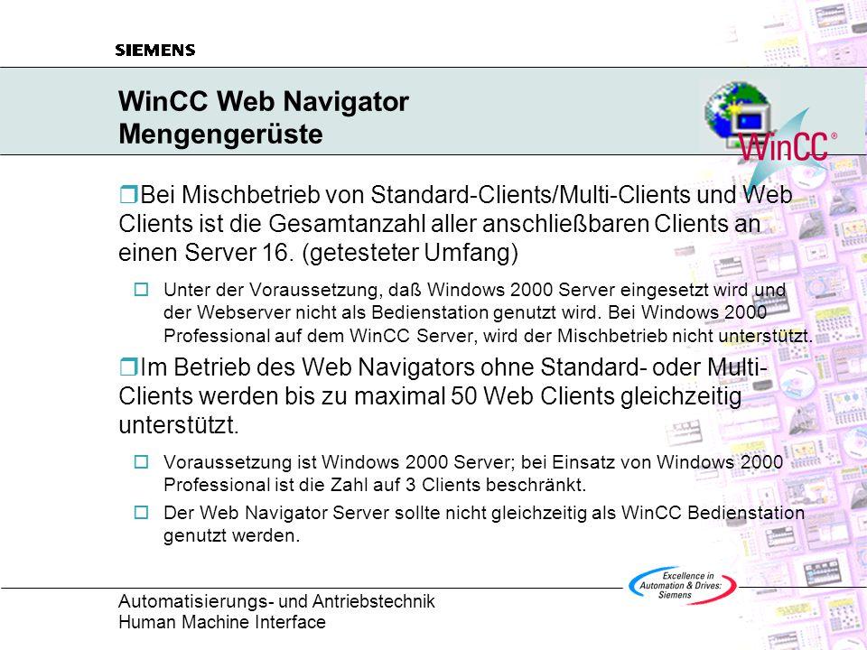 Automatisierungs - und Antriebstechnik Human Machine Interface WinCC Web Navigator Mengengerüste  Bei Mischbetrieb von Standard-Clients/Multi-Clients und Web Clients ist die Gesamtanzahl aller anschließbaren Clients an einen Server 16.