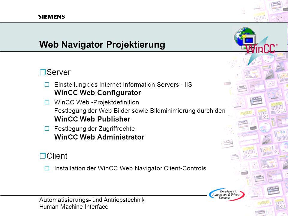 Automatisierungs - und Antriebstechnik Human Machine Interface Web Navigator Projektierung  Server  Einstellung des Internet Information Servers - IIS WinCC Web Configurator  WinCC Web -Projektdefinition Festlegung der Web Bilder sowie Bildminimierung durch den WinCC Web Publisher  Festlegung der Zugriffrechte WinCC Web Administrator  Client  Installation der WinCC Web Navigator Client-Controls