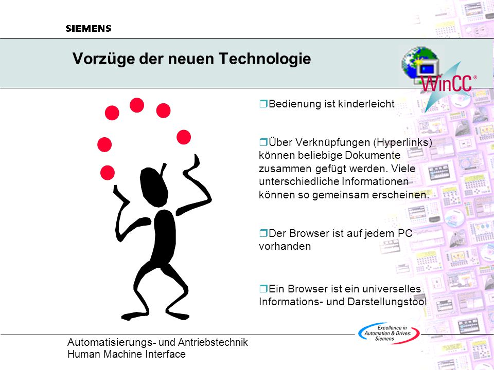 Automatisierungs - und Antriebstechnik Human Machine Interface Vorzüge der neuen Technologie  Bedienung ist kinderleicht  Über Verknüpfungen (Hyperlinks) können beliebige Dokumente zusammen gefügt werden.