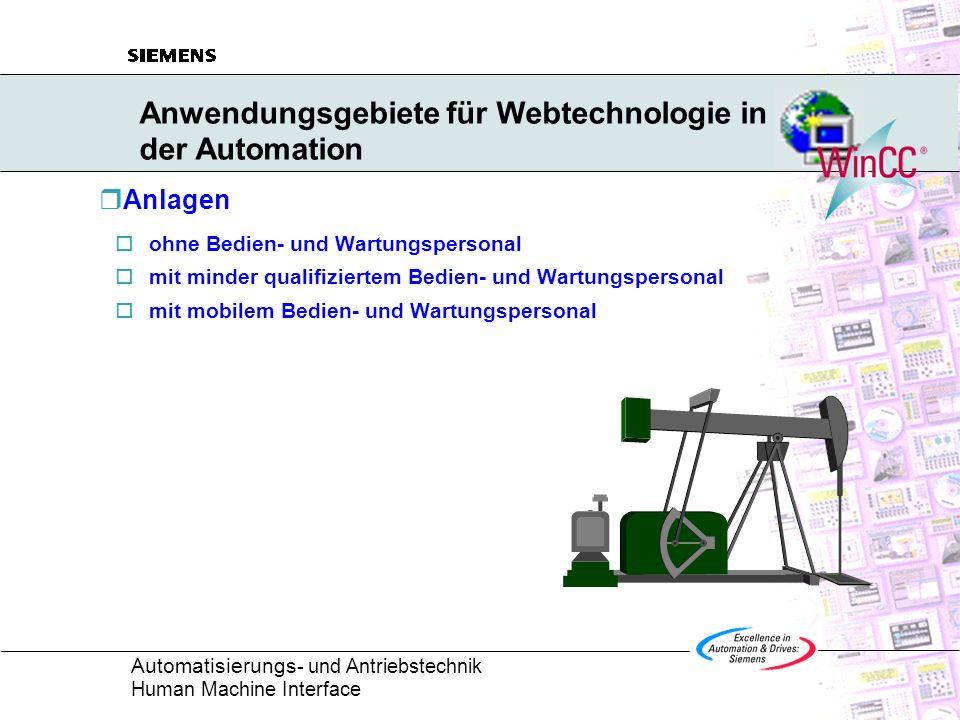 Automatisierungs - und Antriebstechnik Human Machine Interface Anwendungsgebiete für Webtechnologie in der Automation  Anlagen  ohne Bedien- und Wartungspersonal  mit minder qualifiziertem Bedien- und Wartungspersonal  mit mobilem Bedien- und Wartungspersonal