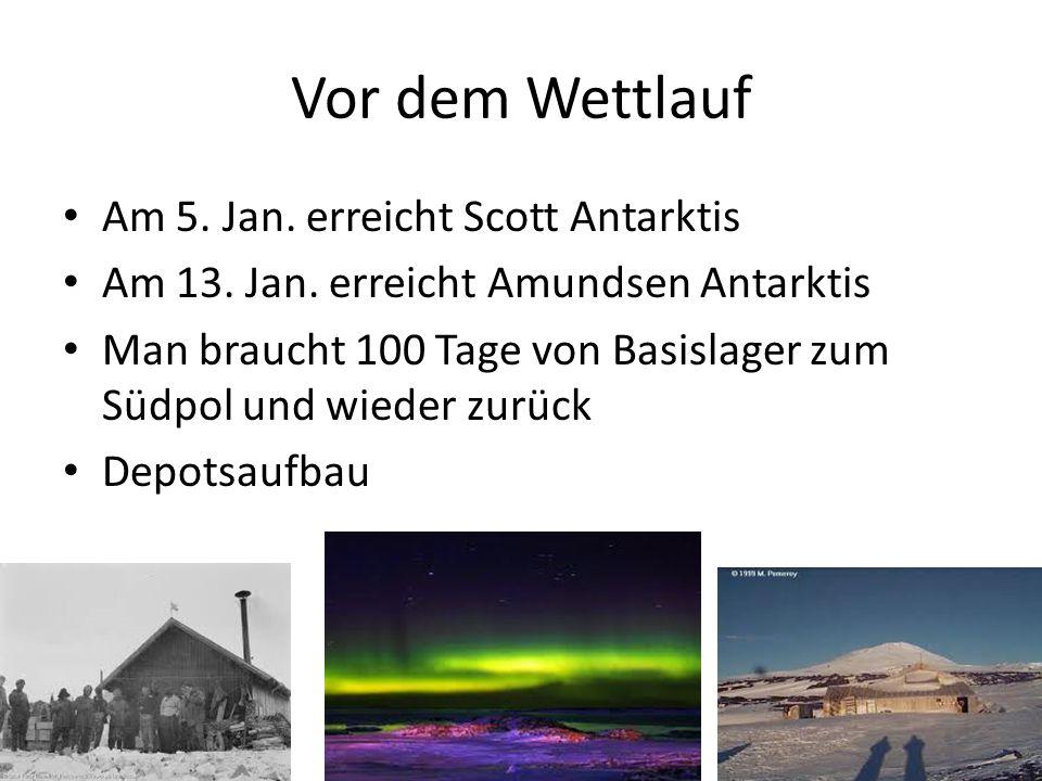 Vor dem Wettlauf Am 5. Jan. erreicht Scott Antarktis Am 13. Jan. erreicht Amundsen Antarktis Man braucht 100 Tage von Basislager zum Südpol und wieder