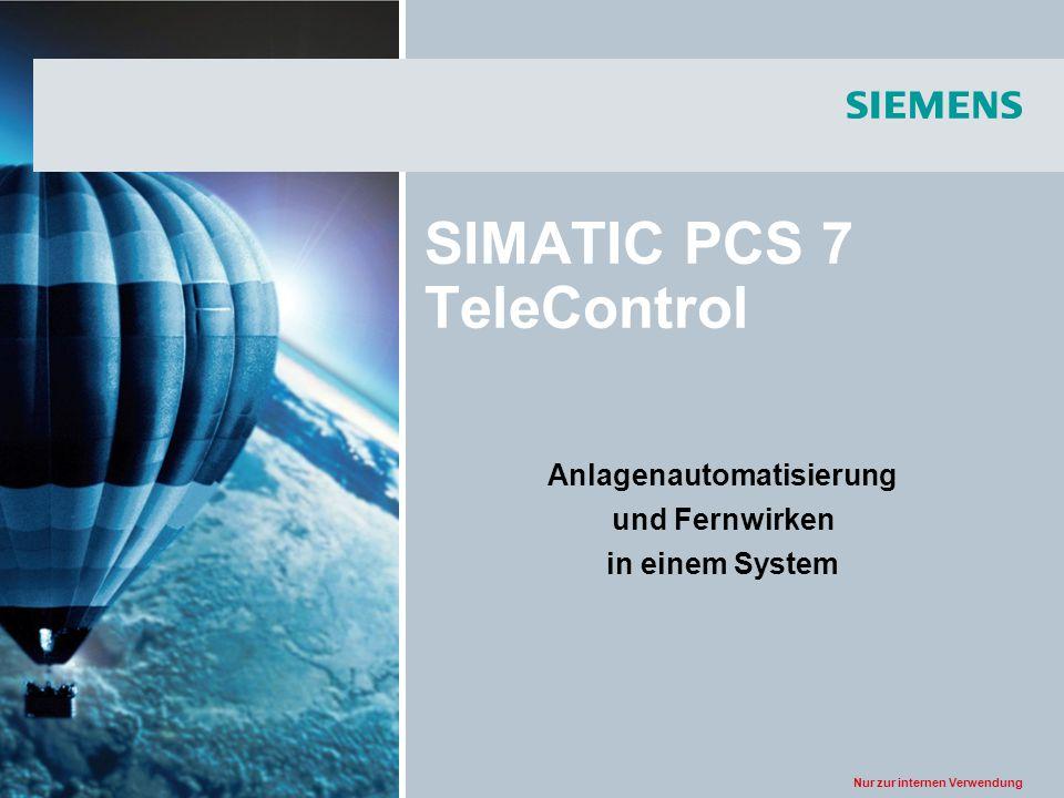 Nur zur internen Verwendung SIMATIC PCS 7 TeleControl Anlagenautomatisierung und Fernwirken in einem System
