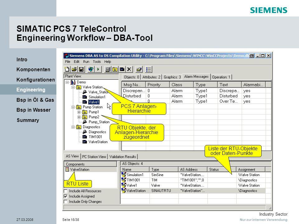 Nur zur internen Verwendung Industry Sector 27.03.2008Seite 16/38 Summary Bsp in Wasser Bsp in Öl & Gas Engineering Konfigurationen Komponenten Intro