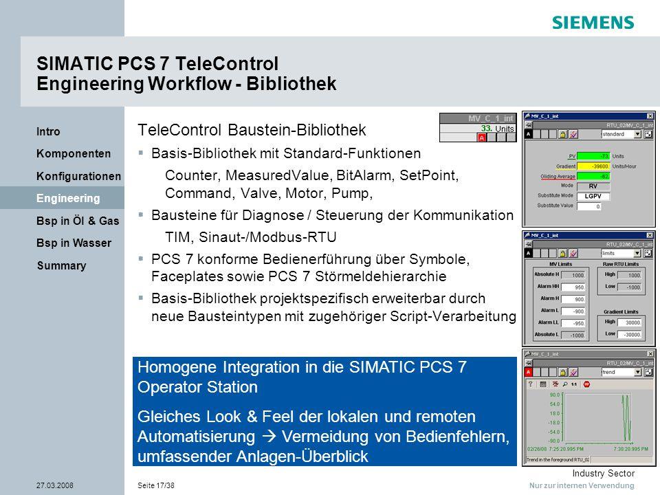 Nur zur internen Verwendung Industry Sector 27.03.2008Seite 17/38 Summary Bsp in Wasser Bsp in Öl & Gas Engineering Konfigurationen Komponenten Intro