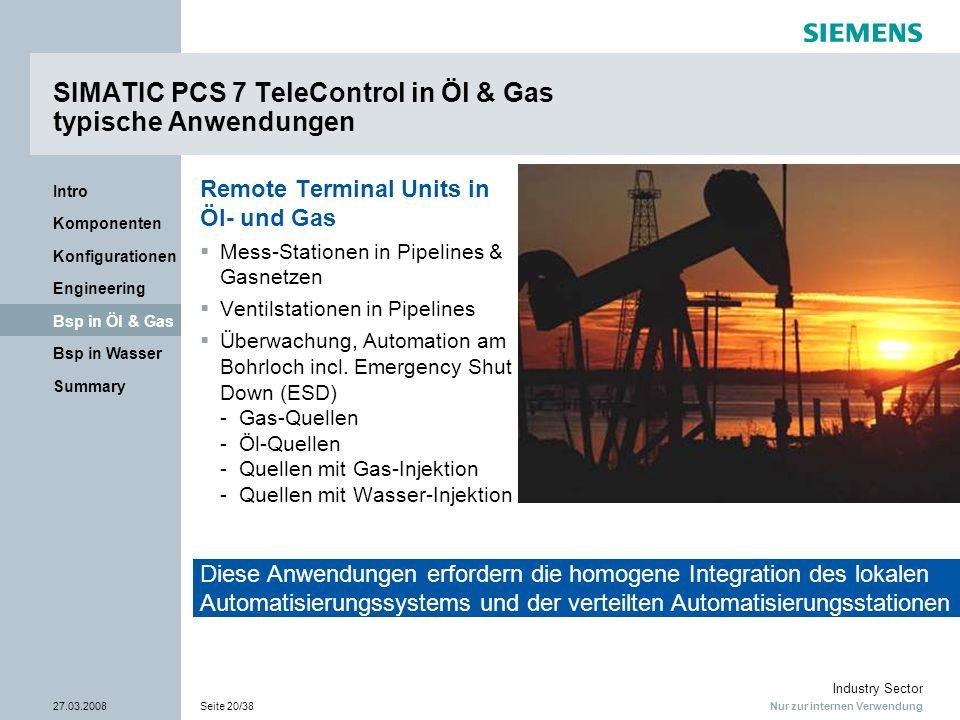 Nur zur internen Verwendung Industry Sector 27.03.2008Seite 20/38 Summary Bsp in Wasser Bsp in Öl & Gas Engineering Konfigurationen Komponenten Intro