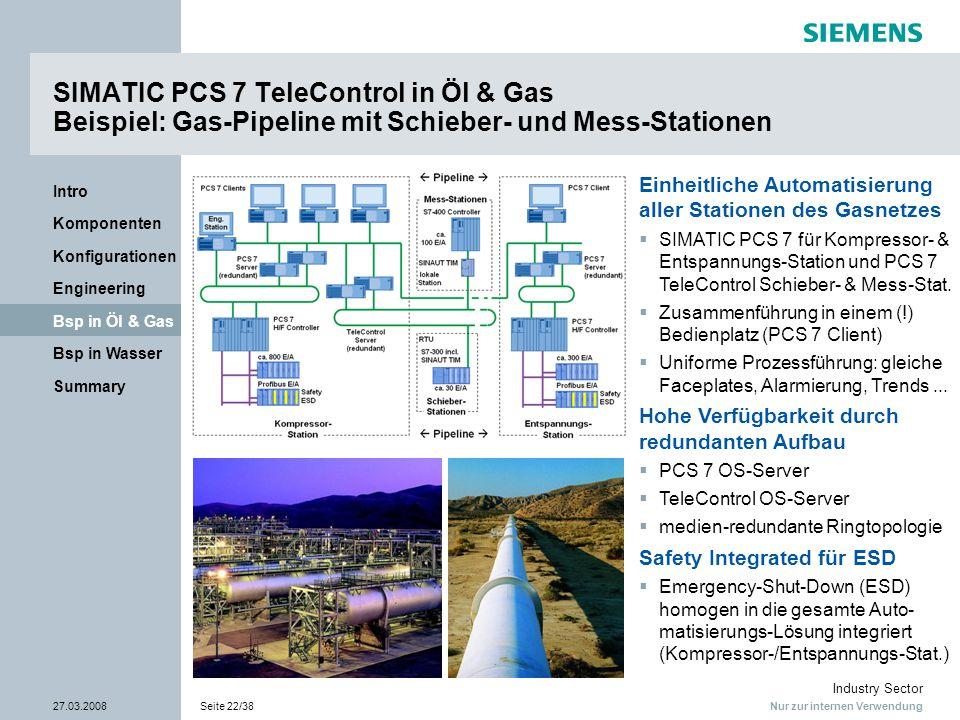 Nur zur internen Verwendung Industry Sector 27.03.2008Seite 22/38 Summary Bsp in Wasser Bsp in Öl & Gas Engineering Konfigurationen Komponenten Intro
