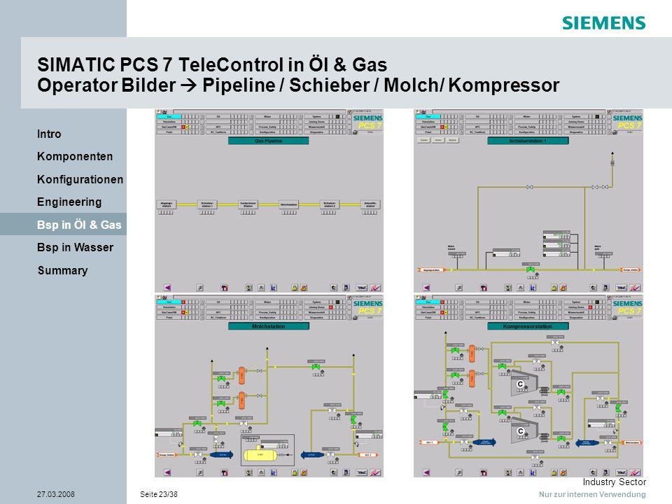 Nur zur internen Verwendung Industry Sector 27.03.2008Seite 23/38 Summary Bsp in Wasser Bsp in Öl & Gas Engineering Konfigurationen Komponenten Intro