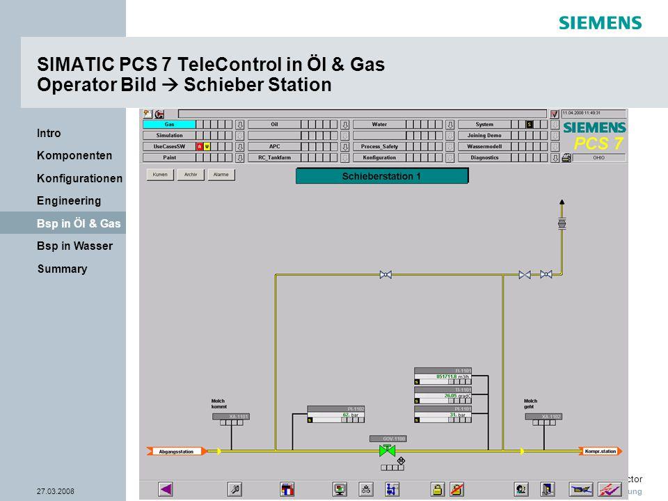 Nur zur internen Verwendung Industry Sector 27.03.2008Seite 25/38 Summary Bsp in Wasser Bsp in Öl & Gas Engineering Konfigurationen Komponenten Intro