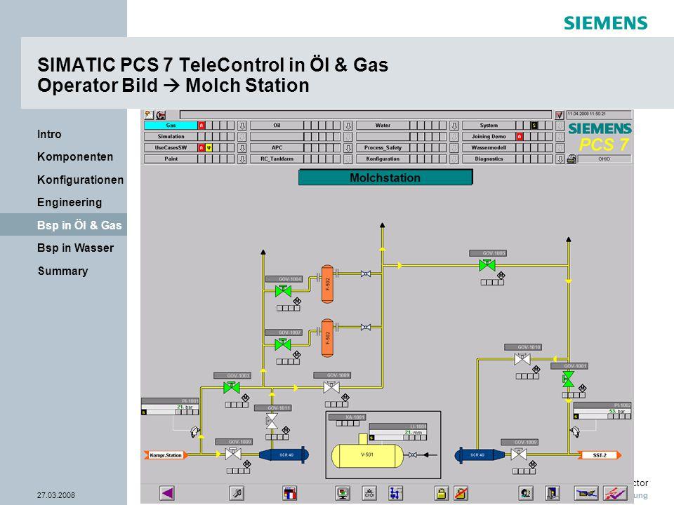 Nur zur internen Verwendung Industry Sector 27.03.2008Seite 26/38 Summary Bsp in Wasser Bsp in Öl & Gas Engineering Konfigurationen Komponenten Intro