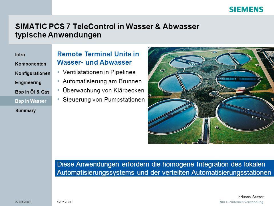 Nur zur internen Verwendung Industry Sector 27.03.2008Seite 28/38 Summary Bsp in Wasser Bsp in Öl & Gas Engineering Konfigurationen Komponenten Intro