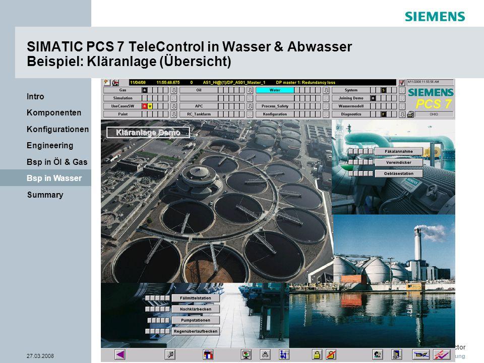 Nur zur internen Verwendung Industry Sector 27.03.2008Seite 32/38 Summary Bsp in Wasser Bsp in Öl & Gas Engineering Konfigurationen Komponenten Intro