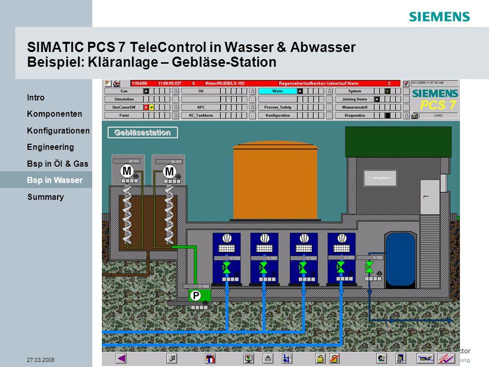 Nur zur internen Verwendung Industry Sector 27.03.2008Seite 33/38 Summary Bsp in Wasser Bsp in Öl & Gas Engineering Konfigurationen Komponenten Intro