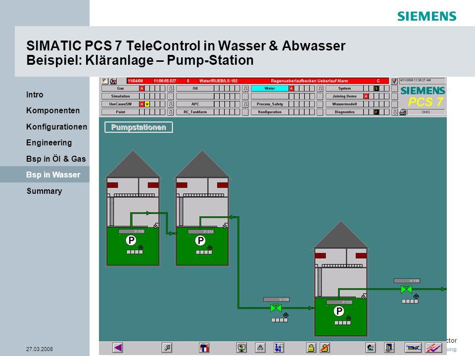 Nur zur internen Verwendung Industry Sector 27.03.2008Seite 34/38 Summary Bsp in Wasser Bsp in Öl & Gas Engineering Konfigurationen Komponenten Intro
