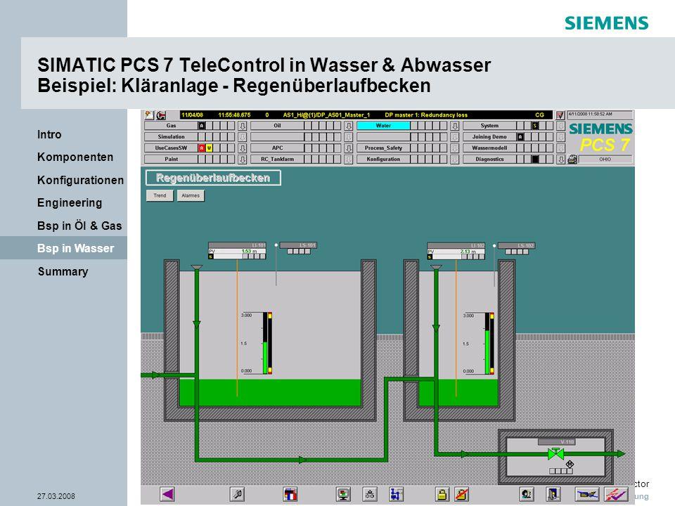 Nur zur internen Verwendung Industry Sector 27.03.2008Seite 35/38 Summary Bsp in Wasser Bsp in Öl & Gas Engineering Konfigurationen Komponenten Intro