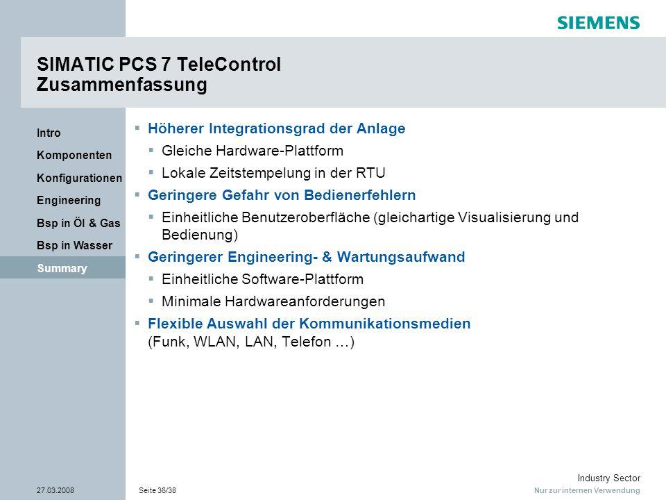 Nur zur internen Verwendung Industry Sector 27.03.2008Seite 36/38 Summary Bsp in Wasser Bsp in Öl & Gas Engineering Konfigurationen Komponenten Intro