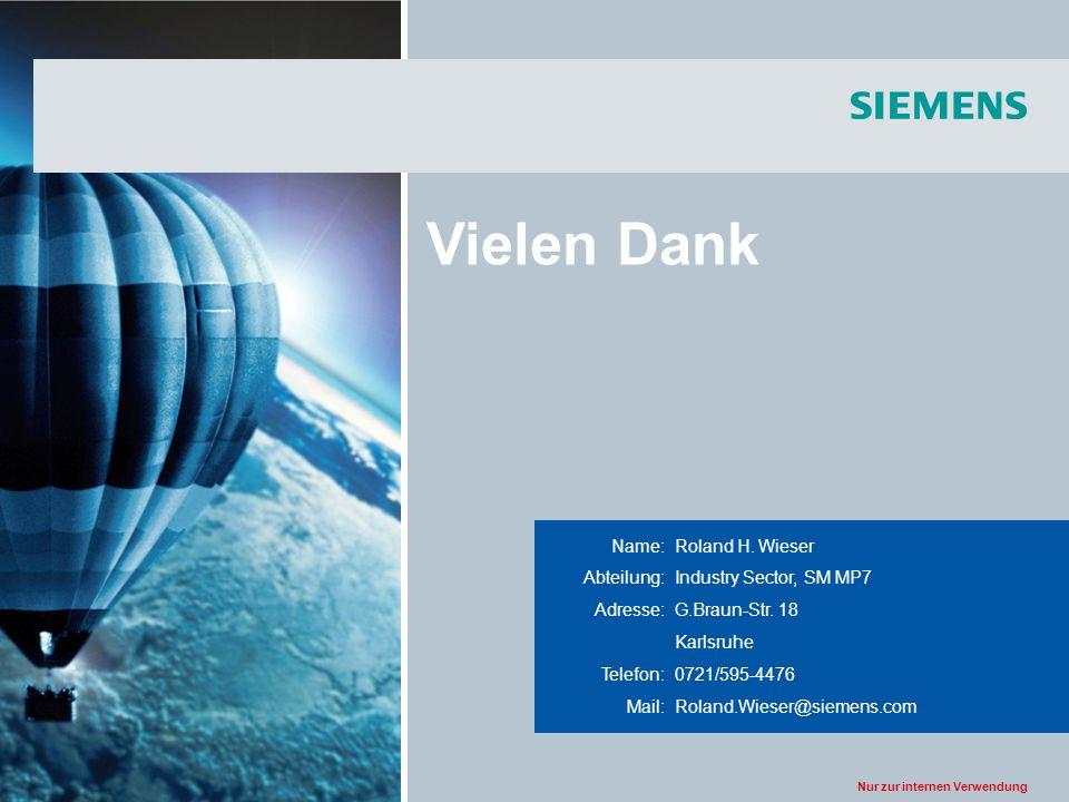 Nur zur internen Verwendung Title of the presentation Name:Roland H. Wieser Abteilung:Industry Sector, SM MP7 Adresse:G.Braun-Str. 18 Karlsruhe Telefo