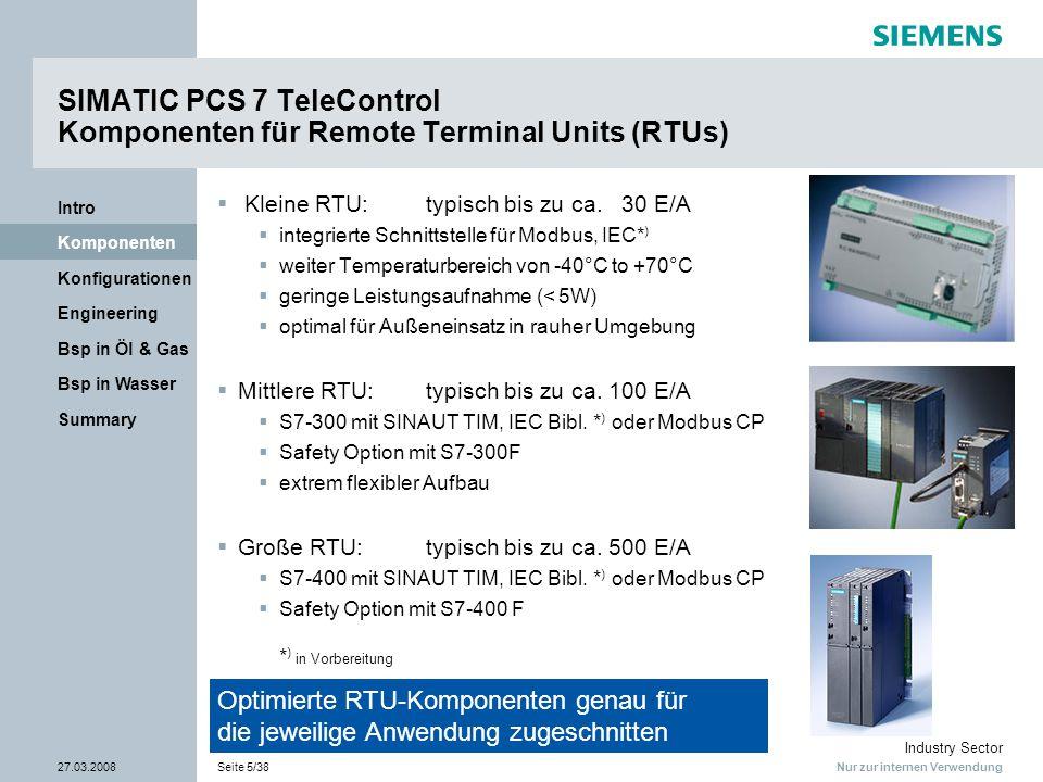 Nur zur internen Verwendung Industry Sector 27.03.2008Seite 5/38 Summary Bsp in Wasser Bsp in Öl & Gas Engineering Konfigurationen Komponenten Intro S