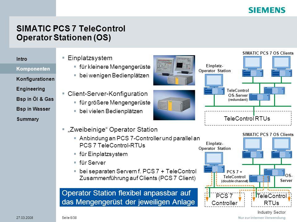 Nur zur internen Verwendung Industry Sector 27.03.2008Seite 6/38 Summary Bsp in Wasser Bsp in Öl & Gas Engineering Konfigurationen Komponenten Intro S