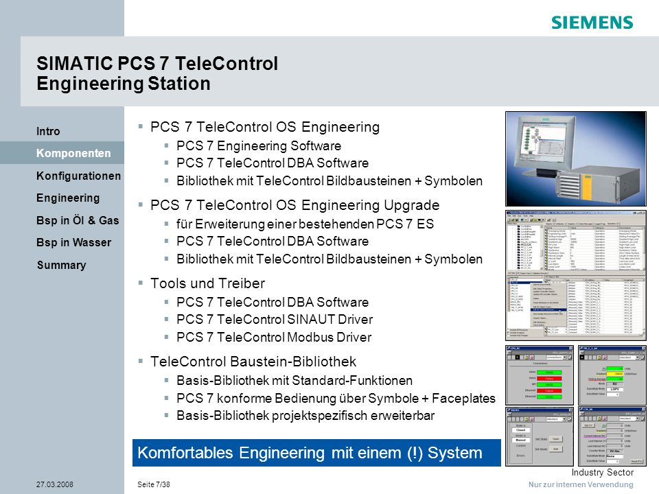 Nur zur internen Verwendung Industry Sector 27.03.2008Seite 8/38 Summary Bsp in Wasser Bsp in Öl & Gas Engineering Konfigurationen Komponenten Intro SIMATIC PCS 7 TeleControl Fernwirk-Kommunikation – Überblick  Übertragungsmedien  öffentliche / private Kommunikationsnetze (Standleitung, Wählverbindung [analog, ISDN], Funksysteme [GSM])  TCP/IP-gestützte Verbindungen (DSL, GPRS)  SINAUT ST7  für SIMATIC RTUs – SIPLUS RIC, S7-300, S7-400  Hardware- & Software-Komponenten für WAN  Vielseitigkeit & Modularität bei Auswahl und Kombination der verfügbaren Netze und Übertragungswege  Modbus  für Einbindung existierender / 3rd-Party RTUs  serielle Protokolle  Modbus RTU oder Modbus ASCII  auch über TCP/IP-Verbindungen  weitere Protokolle (in Vorbereitung)  IEC 870-5-101 (seriell) bzw.